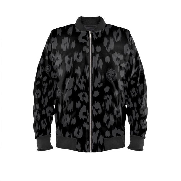 Women's Black Leopard Bomber Jacket