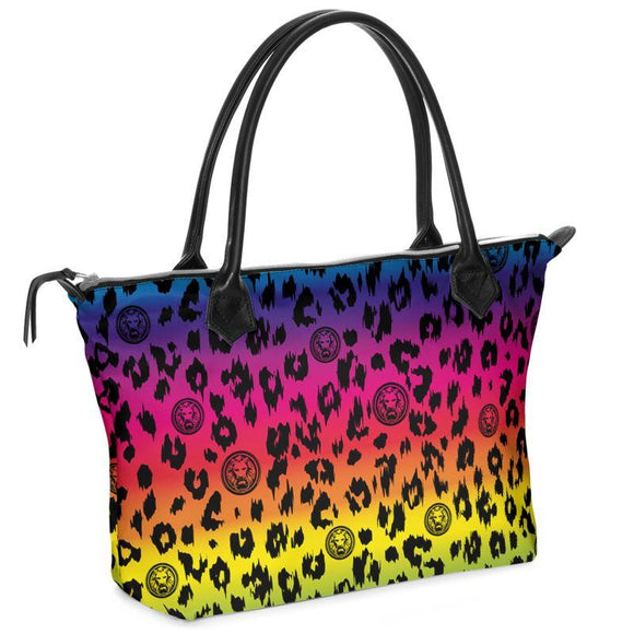 Rainbow Leopard Zip Tote Bag