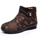 Floral Zipper Artificial Fur Lining Warm Ankle Short Snow Boots