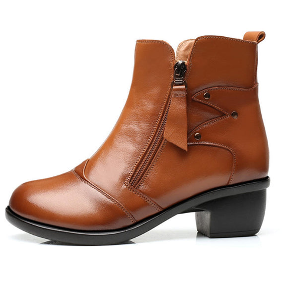 Zipper Round Toe Leather Ankle Short Boots