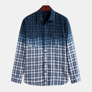 Mens Fashion Patchwork Plaid Double Pockets Casual Shirt