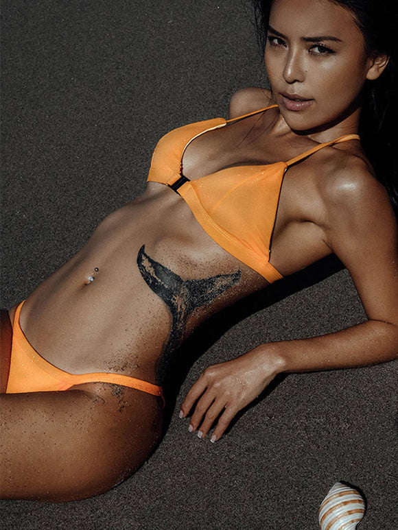 Orange Front Closure Elastic Halter Bikini
