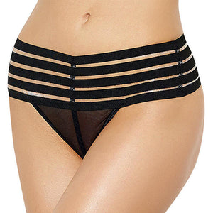 Women Hollow Out High Waist Bandage Crotchless Mesh Thongs G Strings Panties