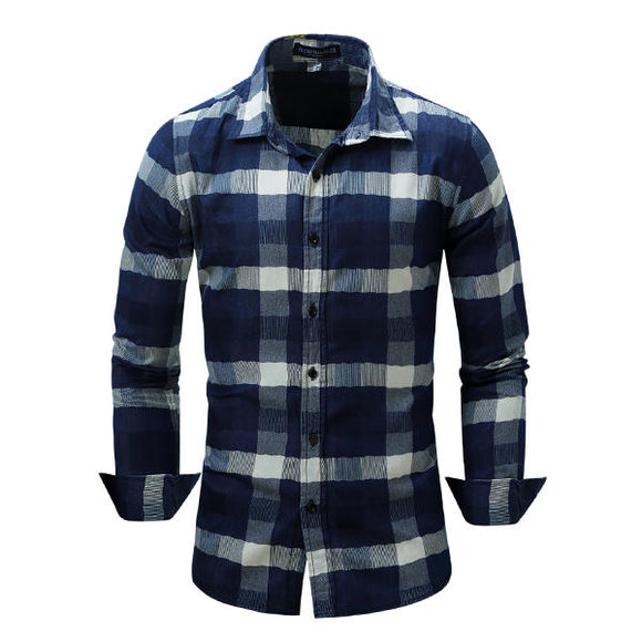 Mens Plaid Stitching Turn-down Collar Spring Autumn Long Sleeve Fashion Casual Shirt
