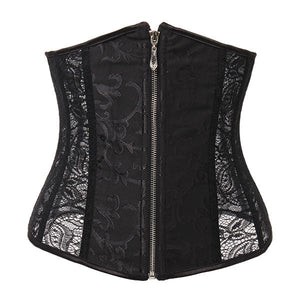 Women Lace Front Zipper Underbust Warmth Waist Corset Bustiers Bridal Gowns Body Shaper