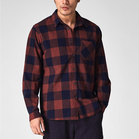Men Vintage Plaid Plus Size Loose Checkered Shirt