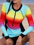 Zipper Front Sun Protection Long-Sleeved Swimwear