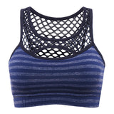 Stripe Vest Hollow Out Mesh Shockproof Top