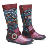 SOCOFY Retro Jacquard Stitching Buckle Flat Leather Mid Calf Boots