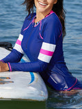 Split Zipper Front Closure Long-Sleeved Sun Protection Quick-Drying Swimwear