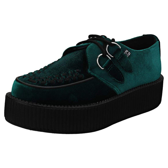 T.U.K. Shoes Men's Women's Green Velvet High Sole Creeper
