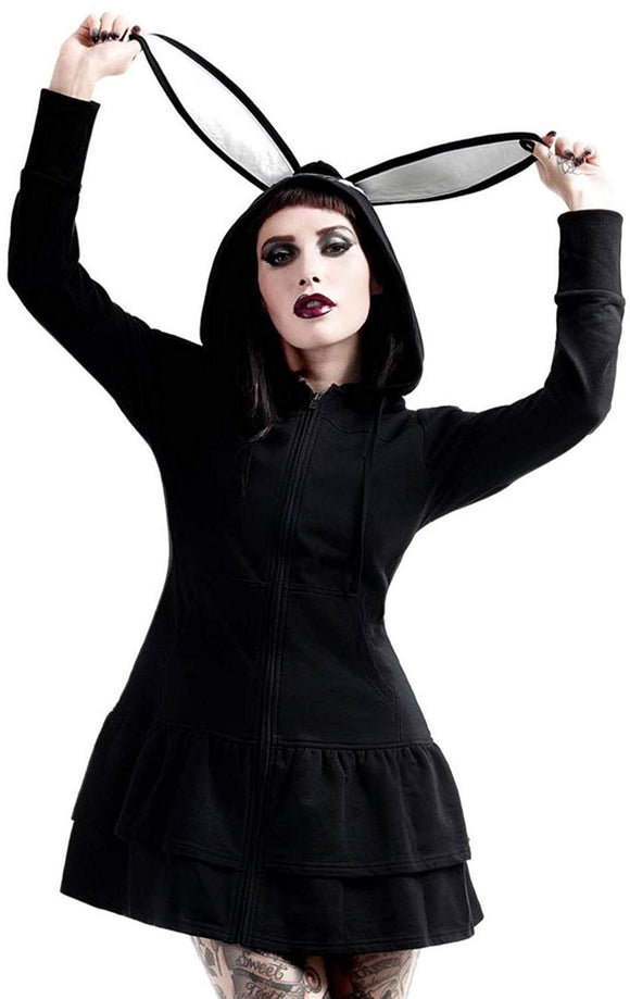 Killstar - Women's Black Bunny Ears Long Sleeve Hoodie