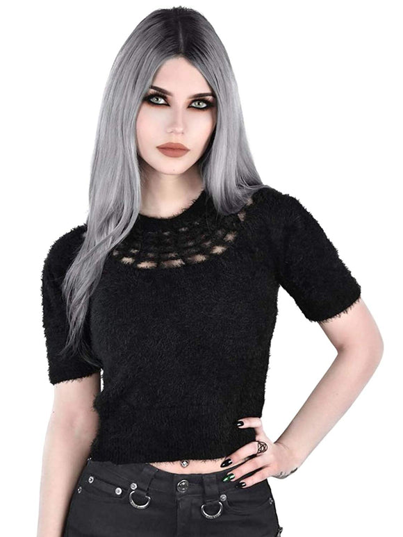 Killstar - Women's Black Fluffy Short Sleeve Jumper