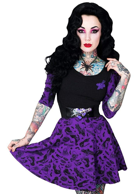 Kreepsville 666 Elvira Comic Icons Purple Skater Dress