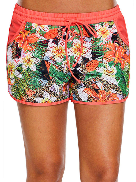 Printed Lace Beach Swimming Trunks For Women