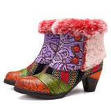 SOCOFY Stitching Stripe Plush Lining Warm Snow Leather Zipper Ankle Boots