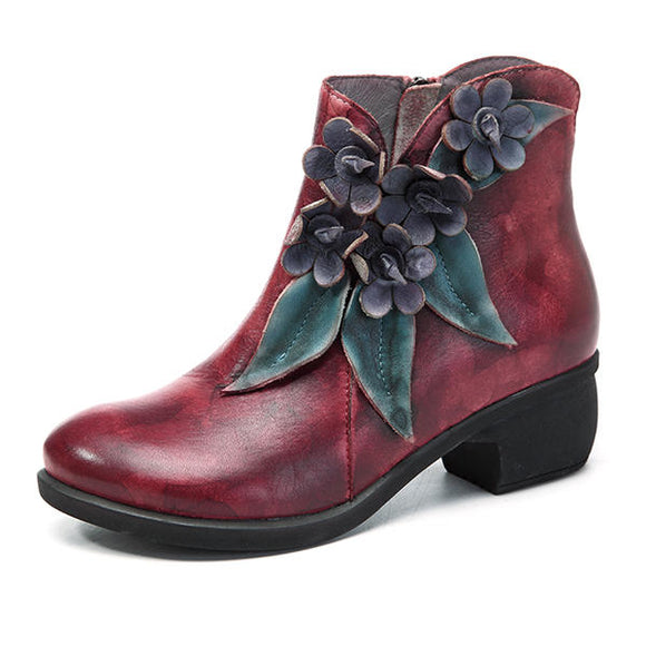 SOCOFY Vintage Handmade Floral Ankle Leather Boots