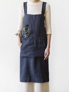 Women Japanese Style Cotton Loose Sleeveless Cross Back Solid Apron Dress SALE