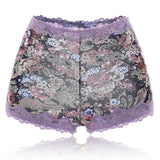 Lace Floral Printed Hip Up Comfy Mid Waist Silk Cotton Crotch Panties