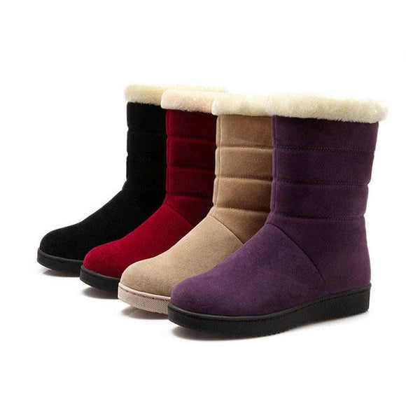 Flats Fur Lining Cotton Ankle Snow Boots