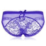 Sexy Transparent Floral Lace Low Waist Panties Lovely Bow See Through Women Underwear