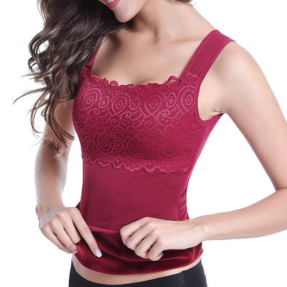 Winter Warm Velvet Thicken Lacy Body Shaping Thermal Shapewear