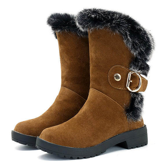 Winter Mid-Calf Boots Faux Fur Lining Casual Flats