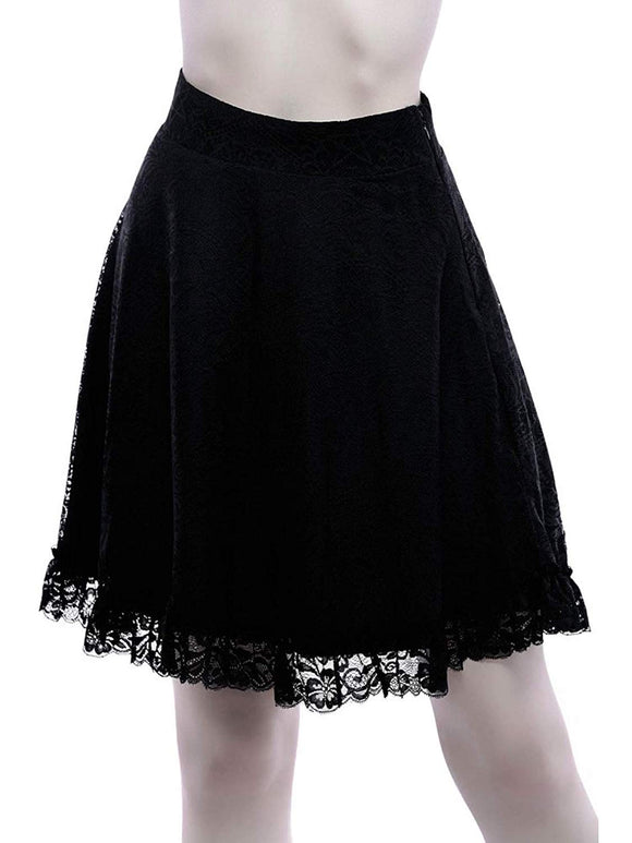 Killstar - Caspia Women's A-Line Lace Skirt