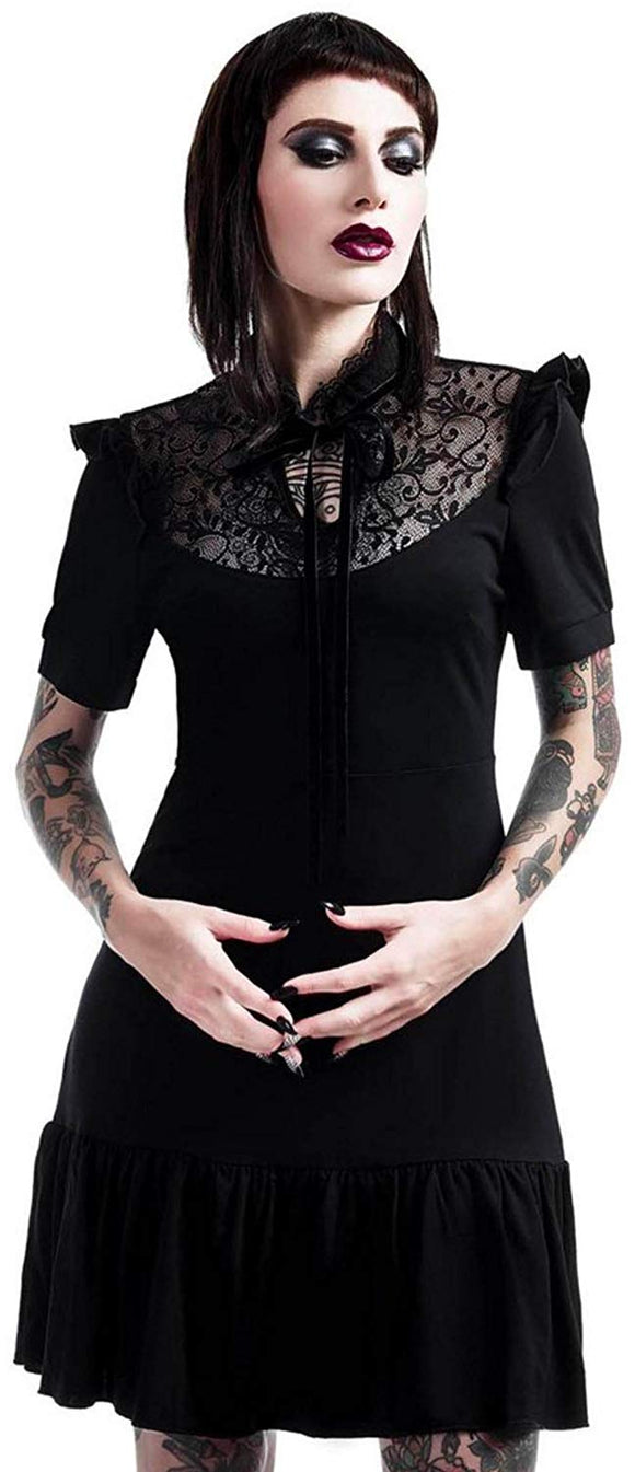 Killstar - Black Gothic Short Sleeve Dress