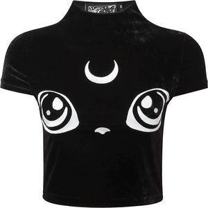 Killstar - Women's Cats Eyes Banded Collar Maternity T-Shirt