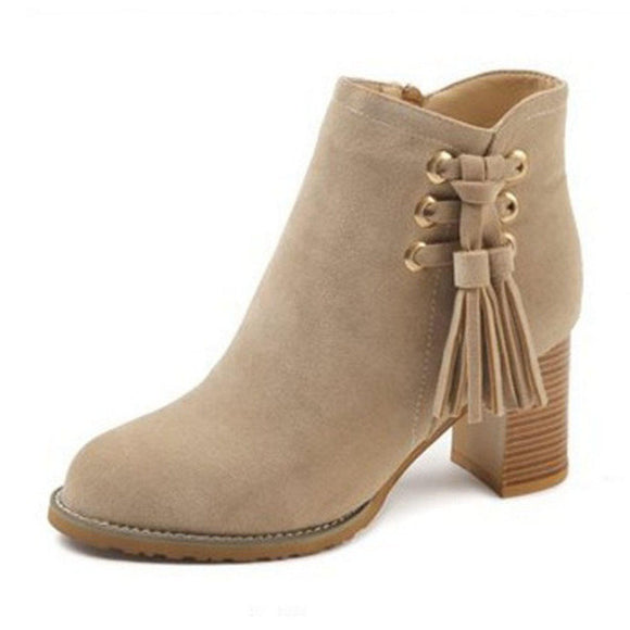 Pure Color Suede Fringe Chunky Heel Zipper Ankle Short Boots