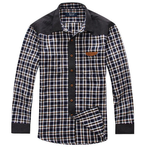 Plaid Spring Autumn Long-sleeved Men Loose Cotton Shirt