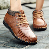 Women Leather Comfy Handmade Casual Lace Up Ankle Boots
