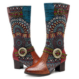 SOCOFY Embroidery Splicing Pattern Leather Mid Calf Knee Boots