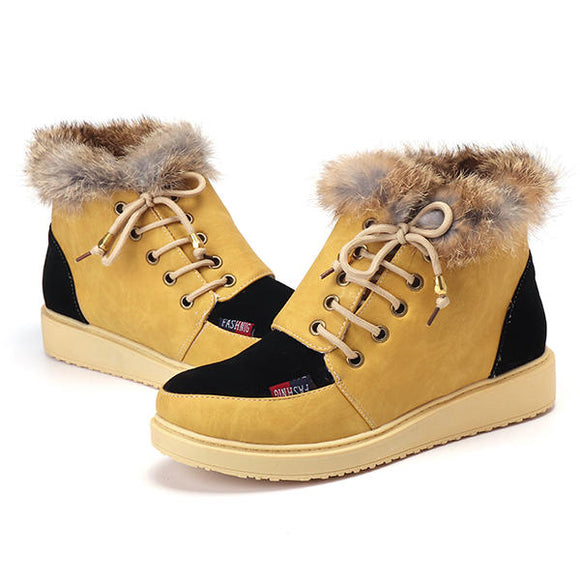 Lace Up Flats Fur Lining Keep Warm Cotton Ankel Snow Boots