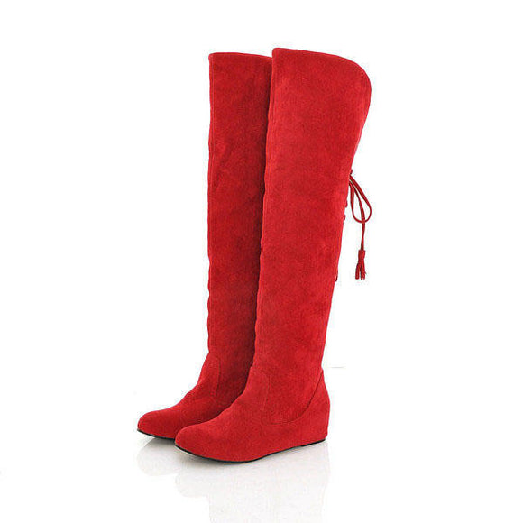 Warm  High Lace Up Long Boots Flat Heel Winter Boots