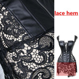 Women Faux Leather Corset Sexy Straps Overbust Court Steampunk Gothic Bustiers With Lace Skirt