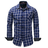 Casual Business Plaid Shirts Plus Chest Pocket Long Sleeve Dress Shirt