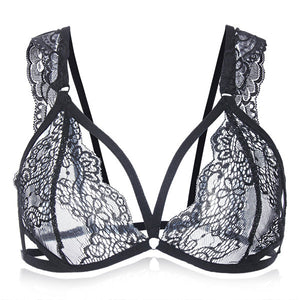 Sexy Women Perspective Lace Mesh Bralette Hollow Out Intimate Temptation Fix Strap Bra Top Underwear
