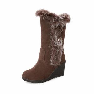 Artificial Fur Lining Trim Mid Calf Snow Wedge Heel Snow Boots
