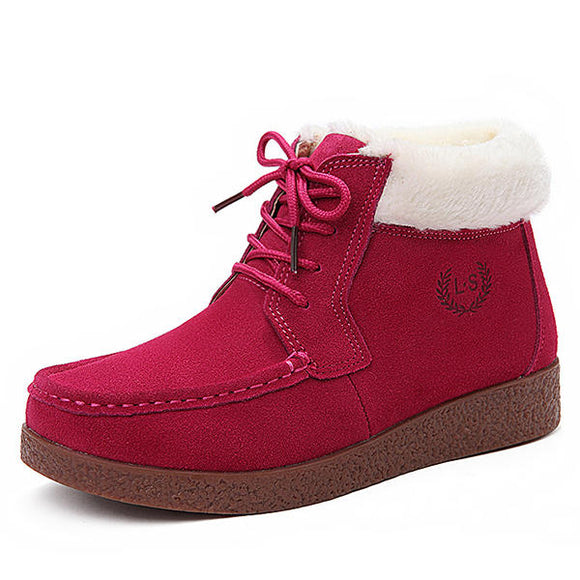 Winter Fur Lining Keep Warm Comfortable Lace Up Ankle Snow Boots