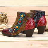 SOCOFY Bohemian Comfy Zipper Flower Ankle Leather Boots