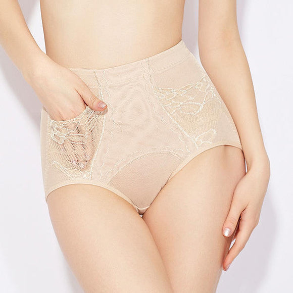 Women Ultra-thin Mesh & Lace Mid Rise Shaping Panties