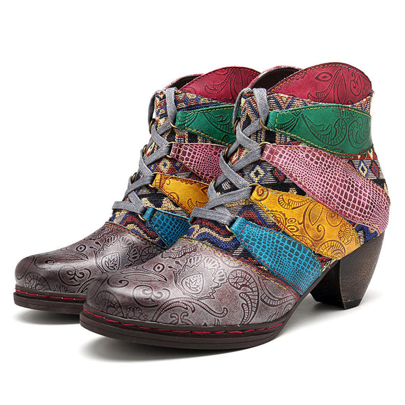 SOCOFY Genuine Leather Jacquard Lace Up Zipper Ankle Boots
