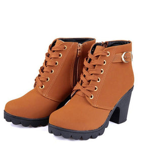 High Top Heel Ankle Boots Winter Pumps Lace Up Buckle Suede Shoes