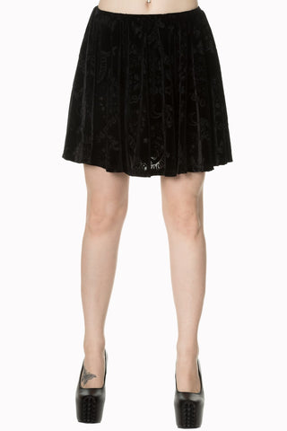Banned Apparel - 9 Lives Velvet Skater Skirt