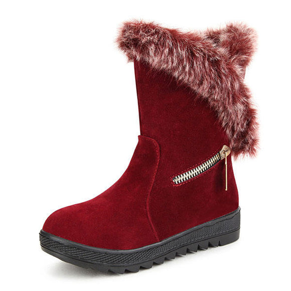 Plush Cotton Comfortable PU Outdoor Flats Winter Snow Boots