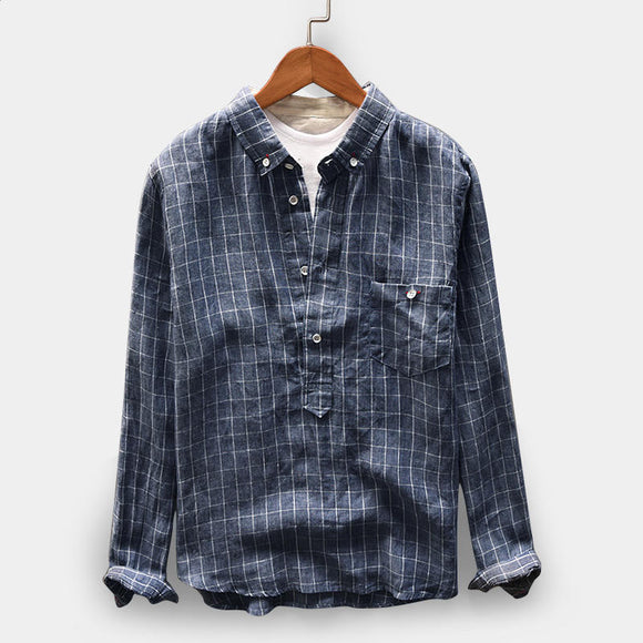 Men's Vintage Plaid Linen Loose Comfy Popover Button Down Shirt