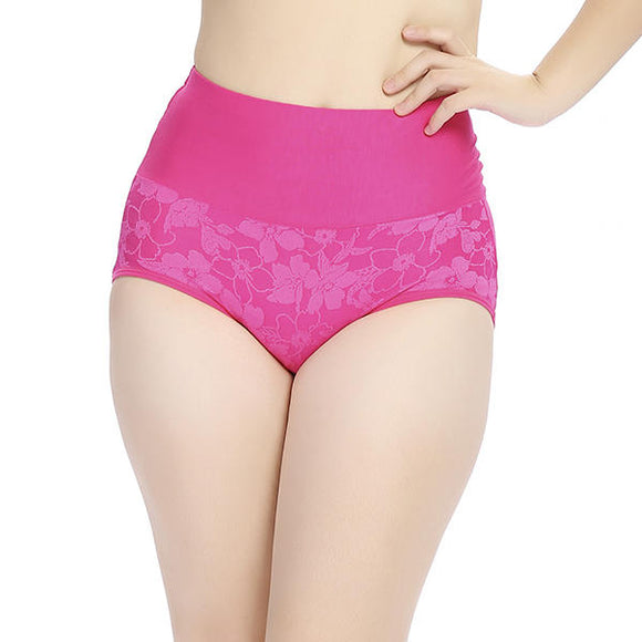 Jacquard Comfy Soft Modal Seamless High Waist Panties Briefs For Women