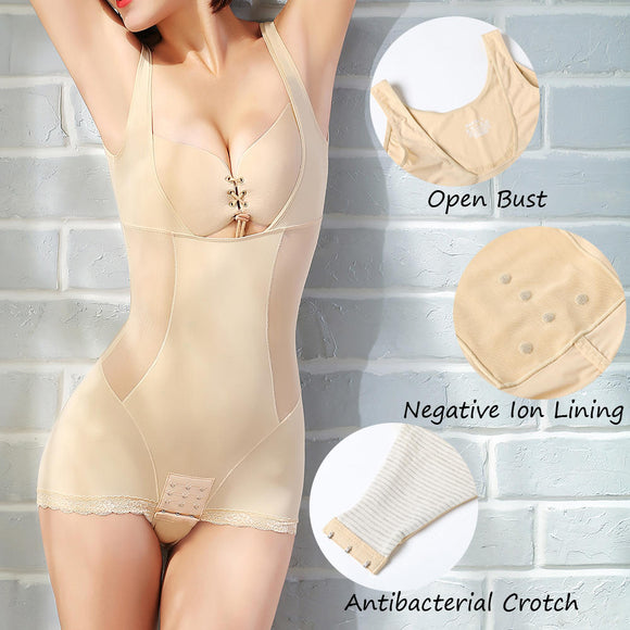 Tummy Control Negative Ion Lining Open Bust Push Up Shapewear